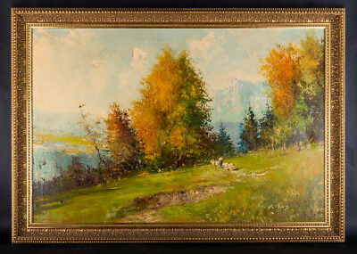"Large Early 20th Century Impressionist Oil ""Autumn Scene"""