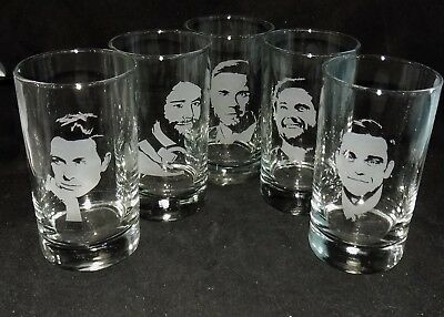 """New Etched """"TAKE THAT"""" Hiball Glasses - Any Member Or The Whole Band!"""
