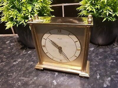 1960s VINTAGE BRASS SOLID MANTEL 8 DAY CLOCK , GOOD WORKING ORDER