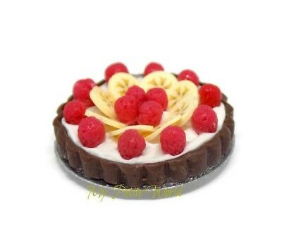 1:12th Scale Dolls House Miniature strawberry and banana fruit pie-handmade-food