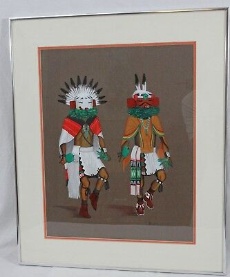 Richard Taliwood 1972 Original Painting Kachina Men Dance Navajo Native American