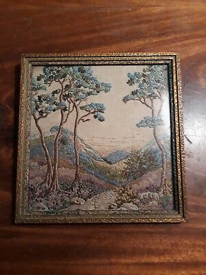 vintage hand embroidered framed picture-Oriental style mountains and trees 1943
