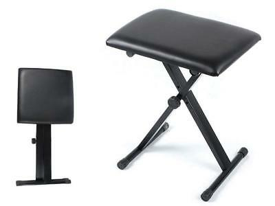New Piano Stool Folding Height Adjustable Leather Pro X Frame Piano Music Bench
