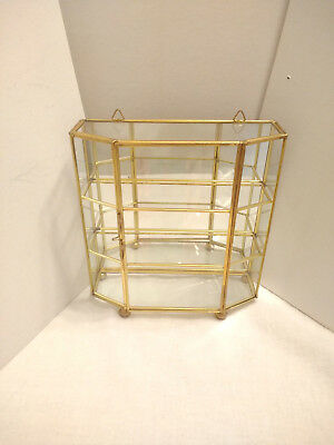 """Brass Glass Curio Cabinet Wall Table Counter Mirror Miniature Display Case 8"""""""
