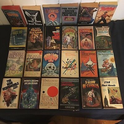 LOT OF 24 SCIENCE FICTION PULP FICTION PAPERBACKS 1950s - 2000s Some 1st edition