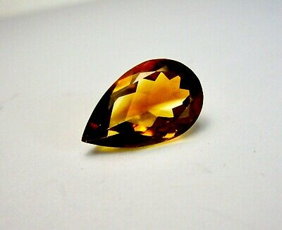 Beautiful 15x10 mm Brazilian Madeira  5.00 Ct. Pear Shape Citrine