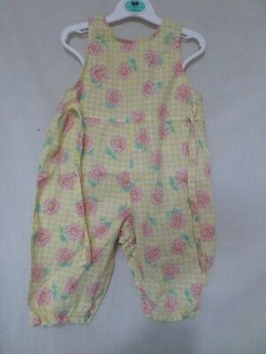 George Girls Yellow With Pink Floral Sleeveless Playsuit Size 3-6 Months
