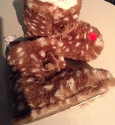 Girls BNWT FURRY BOOT SLIPPERS, REINDEER , SIZE 9 INFANT UK