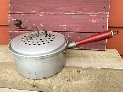 Vintage Popcorn Pan with Red Handle & Handle Crank