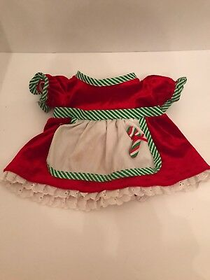 Build A Bear Christmas Mrs. Claus Candy Cane Apron Red Green Striped Dress