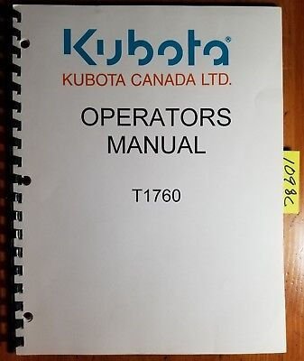 kubota t1760 lawn tractor owner's operator's manual