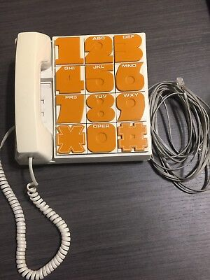 Radio Shack Phone Orange Big Number Button 43-344A Vintage Perfect Movie Prop