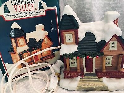 porcelain village house Christmas valley 1991 box has a hole cord has toggle swi