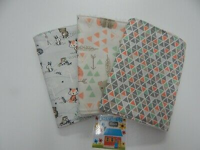 Burp Cloths Baby Fox and Bear 3 Pack Toweling Backed GREAT GIFT IDEA!!