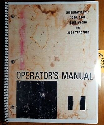 IH International 3088 3288 3488-Hydro 3688 Tractor Owner Operator's Manual 5/82