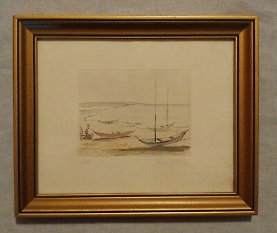Original Ivan Mosca 1915-2005 Hand Colored Signed Numbered Etching Boats 4 of 50