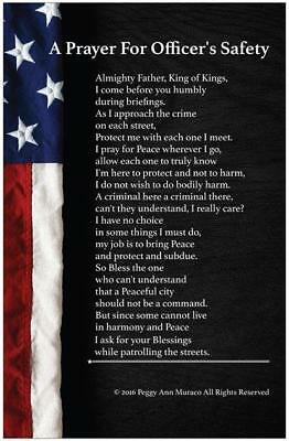 Law Enforcement Police Officer Poster Prayer for Protection 11 x 17 Flag Matte
