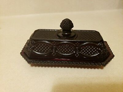 Vintage Avon Ruby Red Cape Cod Quarter Pound Covered Butter Dish With Lid