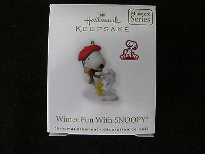 Hallmark Peanuts Keepstake  Miniature Ornament 2010 Winter Fun With Snoopy