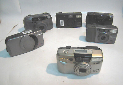 Lot of 6x Pentax, Ricoh, Canon Point & shoot cameras for Repair or Parts--M1