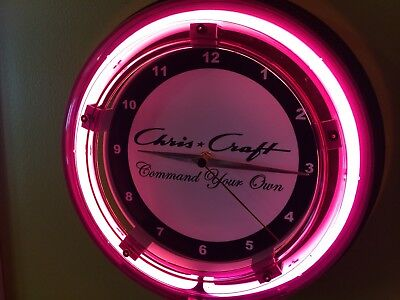 ^^^Chris Craft Command Your Own Wood Boat Garage Man Cave Neon Wall Clock Sign