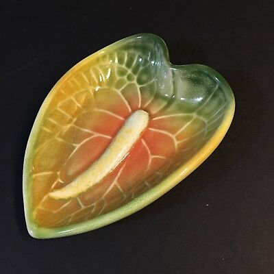 Vintage TROPICAL CLAY Hawaii Anthurium Flower Snack Candy Soap Dish Ceramic
