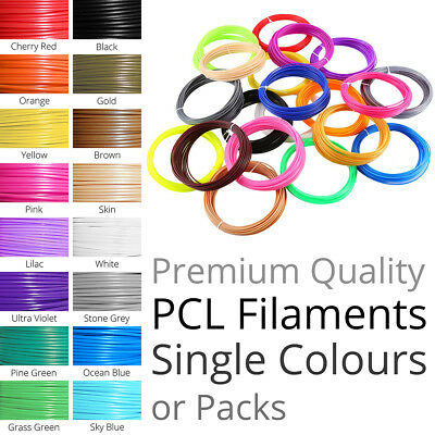 PCL Filament Refills for 3D Printing Pen 1.75mm 5 meters - Colours, Packs