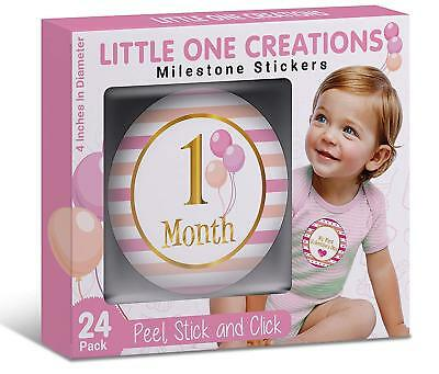 Set of 24! Baby Girl Monthly Milestone Stickers Premium Box Included Shower Gift