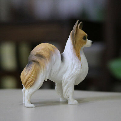 Resin mini Papillon dog Hand Painted simulation model Figurine Statue