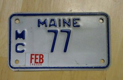 Maine TWO DIGIT MOTORCYCLE license plate ME cycle Tag # 77 LOW NUMBER