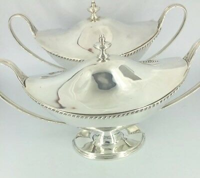 Pair of Antique Solid Sterling Silver Lidded Sauce Tureens 1902 Bradbury Boodles