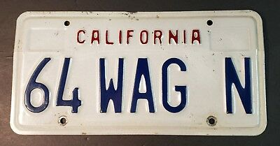California Vanity License Plate: White Late 80's Style Personalized W/ 64 WAG N