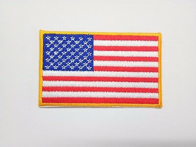 AMERICAN FLAG, GOLD BORDER-Iron On Embroidered Applique Patch/Patriotic, USA