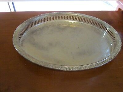 OVAL SHAPE SILVER PLATED  ORNATE SERVING TRAY, 37 x 29 cm.