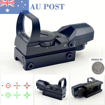 20mm Rail Holographic 4 Reticle Reflex Red Green Sight Scope Mount With Battery