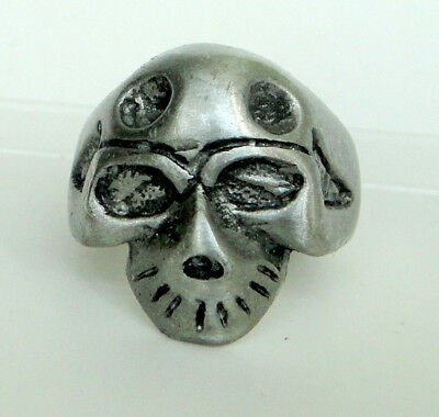 Skull Biker Motorcycles Rider Halloween Heavy Punk Rock Charm Silver Pewter Ring