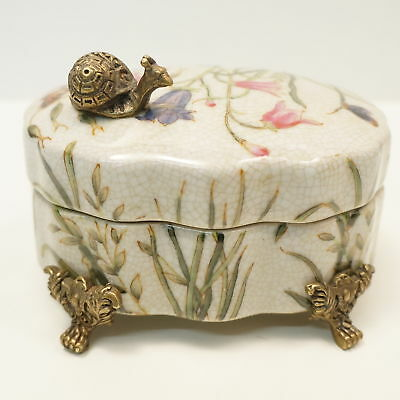 Box Jewelry Tobacco Snail Butterfly Flowers Art Deco Style Art Nouveau Style Por
