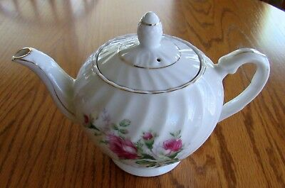 Vintage Japanese Teapot Ceramic/Porcelain White Gold Trim Pink Rose Design