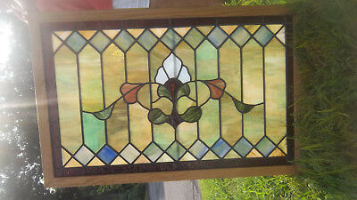 Pair Gorgeous Antique Stained Glass Windows-Circa 1900