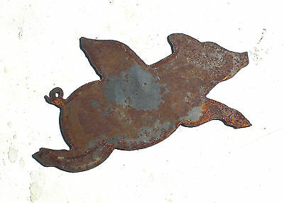 "6"" Flying Pig with Wings Shape Rusty Rustic Vintage Metal Wall Art Craft Sign"