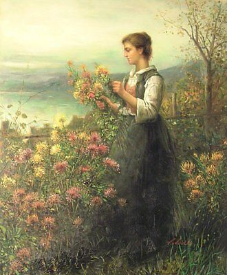 """Lady Picking Wild Flowers, 24""""x20"""" Oil Painting on Canvas, Genuine hand painted"""
