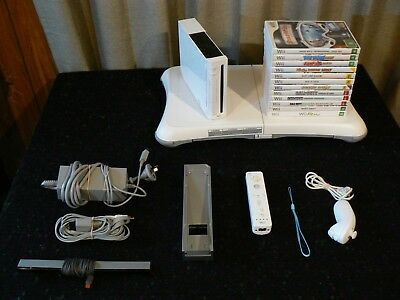 Nintendo Wii console BUNDLE with 12 games controller fit board nunchuck stand ++