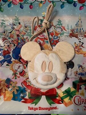 TDR Japan Tokyo Disney Winter Mickey Plush Pouch Coin Pass holder White New/tags