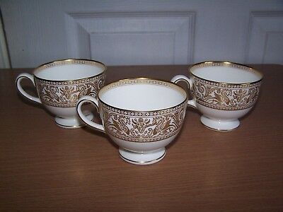 3 x Wedgwood Florentine Gold Bone China Tea Cups W4219 Replacement Teacup