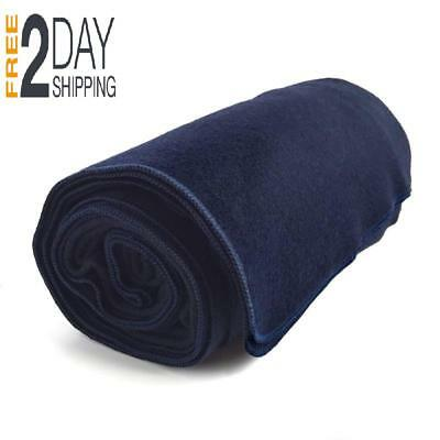 "100% Wool Blanket, Navy Blue, Warm & Heavy 5.5 lbs, Large Washable 66""x 90"" FAST"