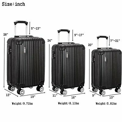 Luggage 3 Piece ABS Trolley Suitcase Spinner Hardshell Lightweight SuitcasesTSA