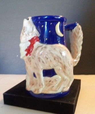 Collectible Ceramic Coyote Howling Stein Mug Hand Painted