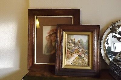 2 Vintage/antique Oak Wooden Picture Frames With Glass & Inner Slips Reeded Edge