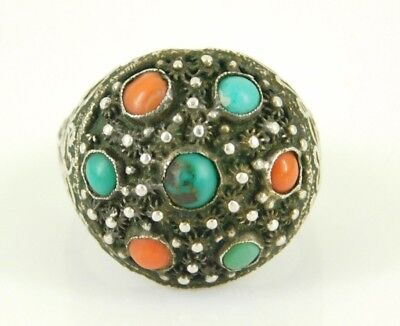 Vintage / Antique Silver Chinese Export Turquoise & Coral Ring Adjustable Size