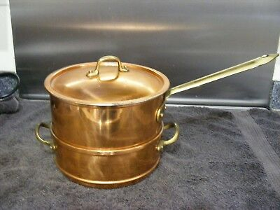 Copper Coated 2 Pan Set Bain Marie With Lid For Sauces Melting And Cooking